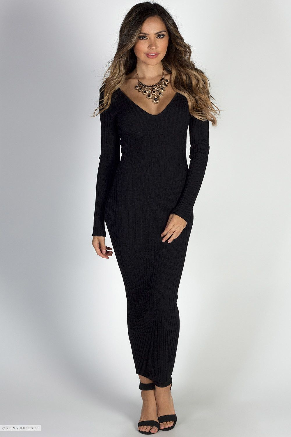 a83ac09aadc Long Sleeve Stretchy Bodycon Ribbed Knit Black Maxi Sweater Dress