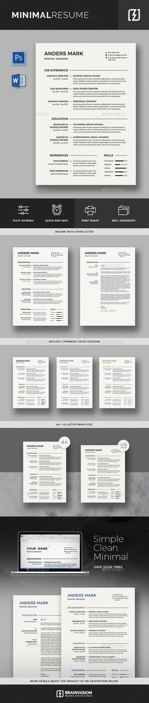 Resume Text Size Minimal Resume Template  Ddd  Pinterest  Template Cv Template .