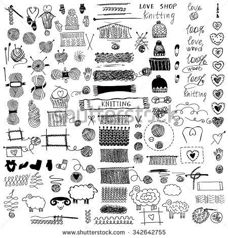 Hand drawn vector illustration. Set of knitting and crafts
