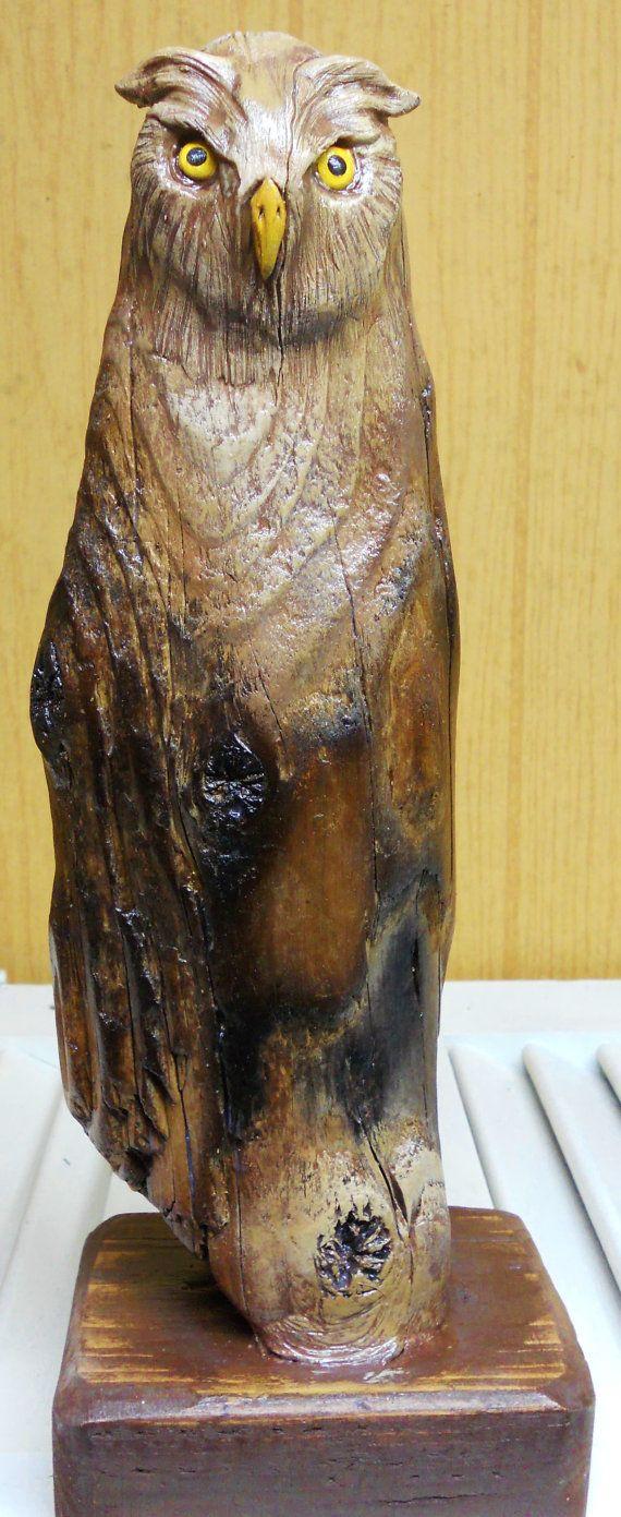 Driftwood Art Sculpture Owl by ADriftwoodDream on Etsy, $85.00