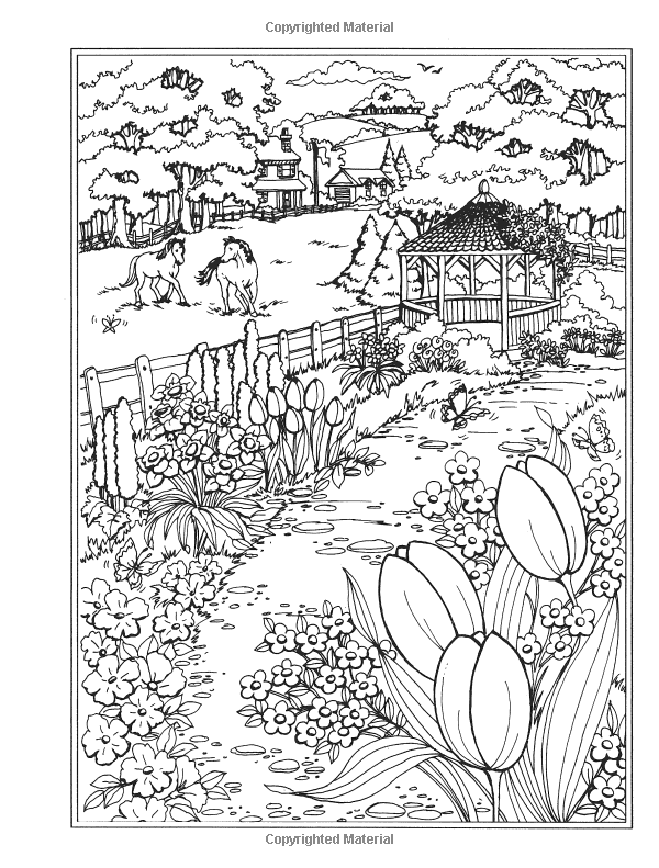 spring scene coloring pages - photo#22
