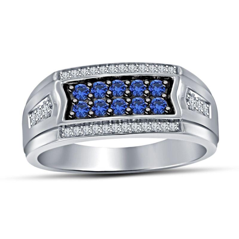 925 Silver 10k White Gp White Blue Sim Diamond Engagement Fashion Band Ring Sapphire Engagement Ring Blue Rings For Men Rings Mens Wedding Bands
