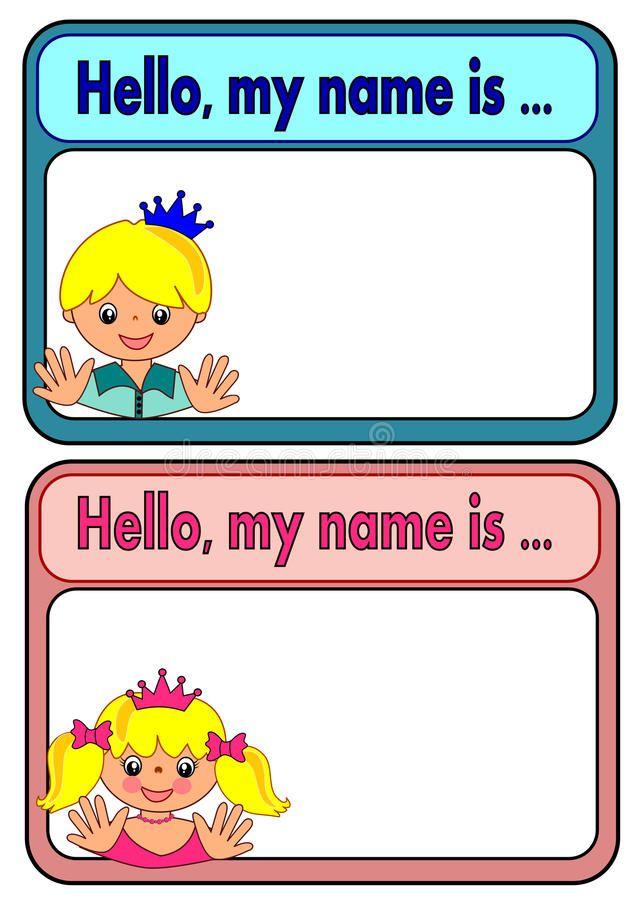 Namensschild Fur Kinder Vektor Abbildung Bild 45116076 Namensschilder Englischunterricht Grundschule Englischunterricht