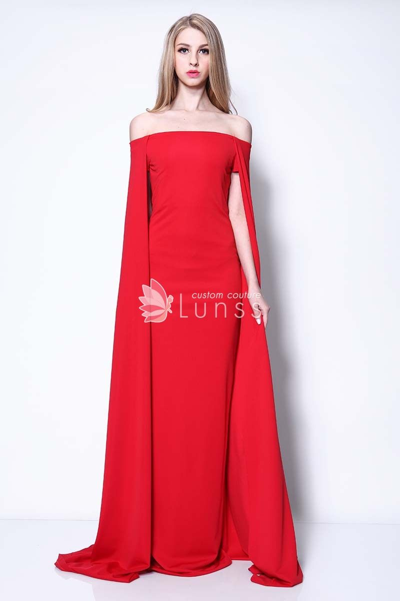 Lupita nyongo unique offtheshoulder red long evening dress i