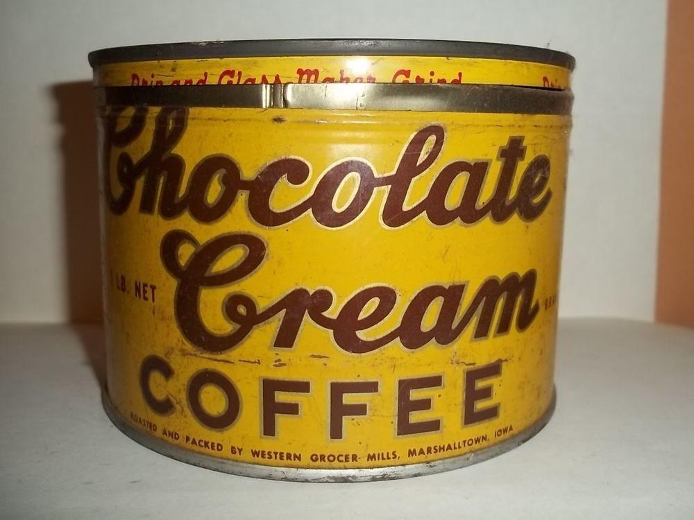 Vintage Tin 1 pound CHOCOLATE CREAM COFFEE empty