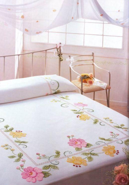 Jogo de cama, ponto russo. | PUNTO RUSO | Pinterest | Bordado, Punto ...