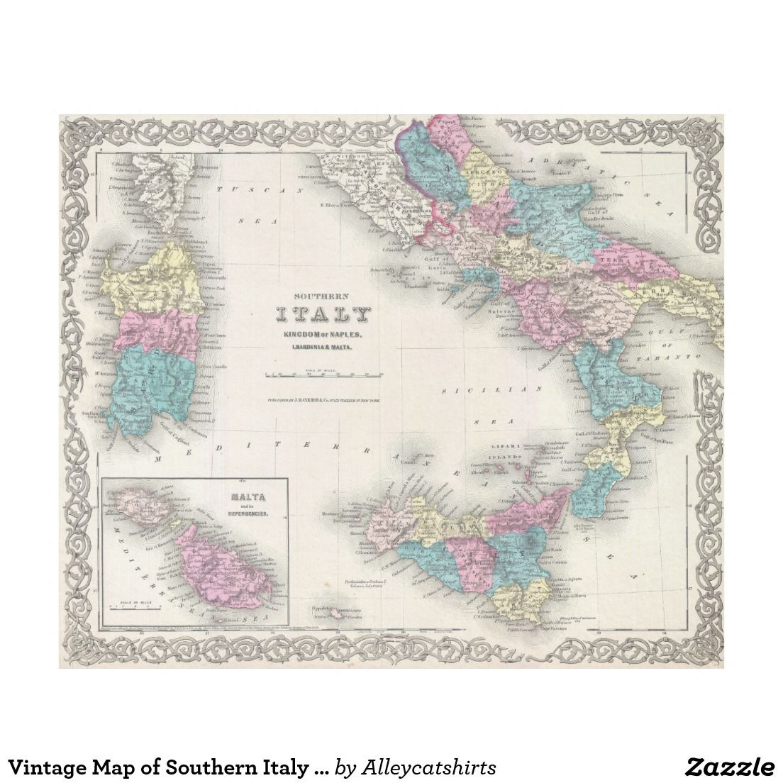 Vintage Map of Southern Italy 1855 Fleece Blanket