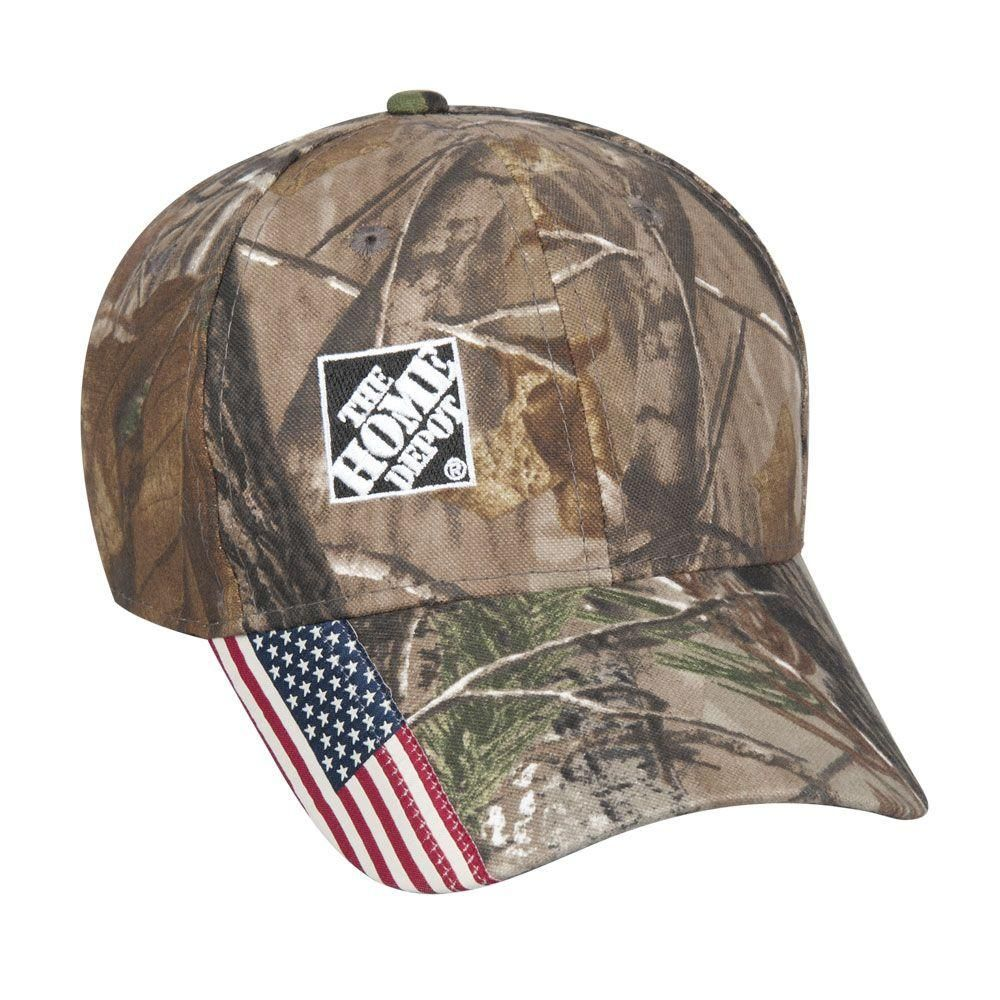 This Home Depot logo cap features Real Tree Camo and the