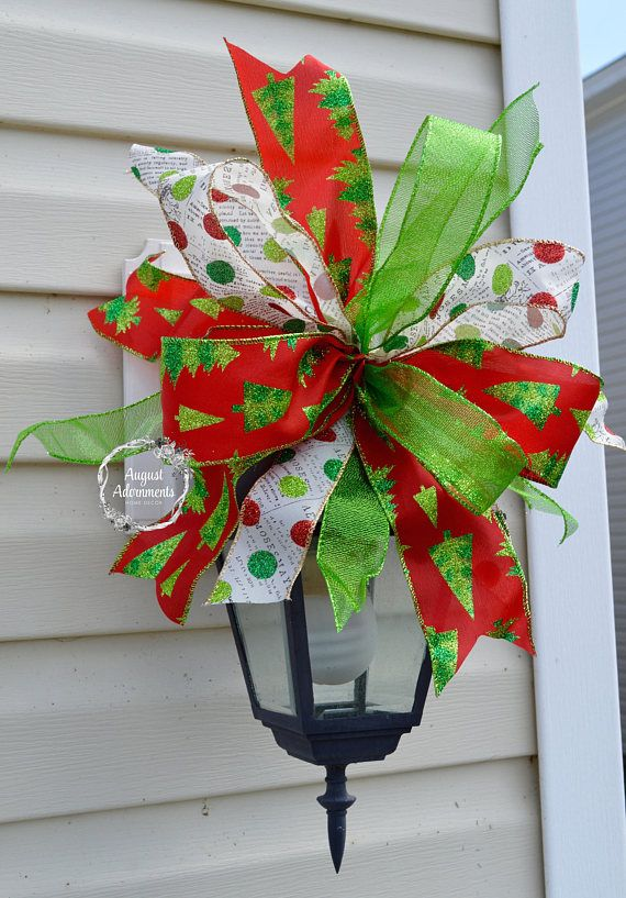 Outdoor Christmas Ribbon.I Just Love This Christmas Swag Bow Mailbox Topper