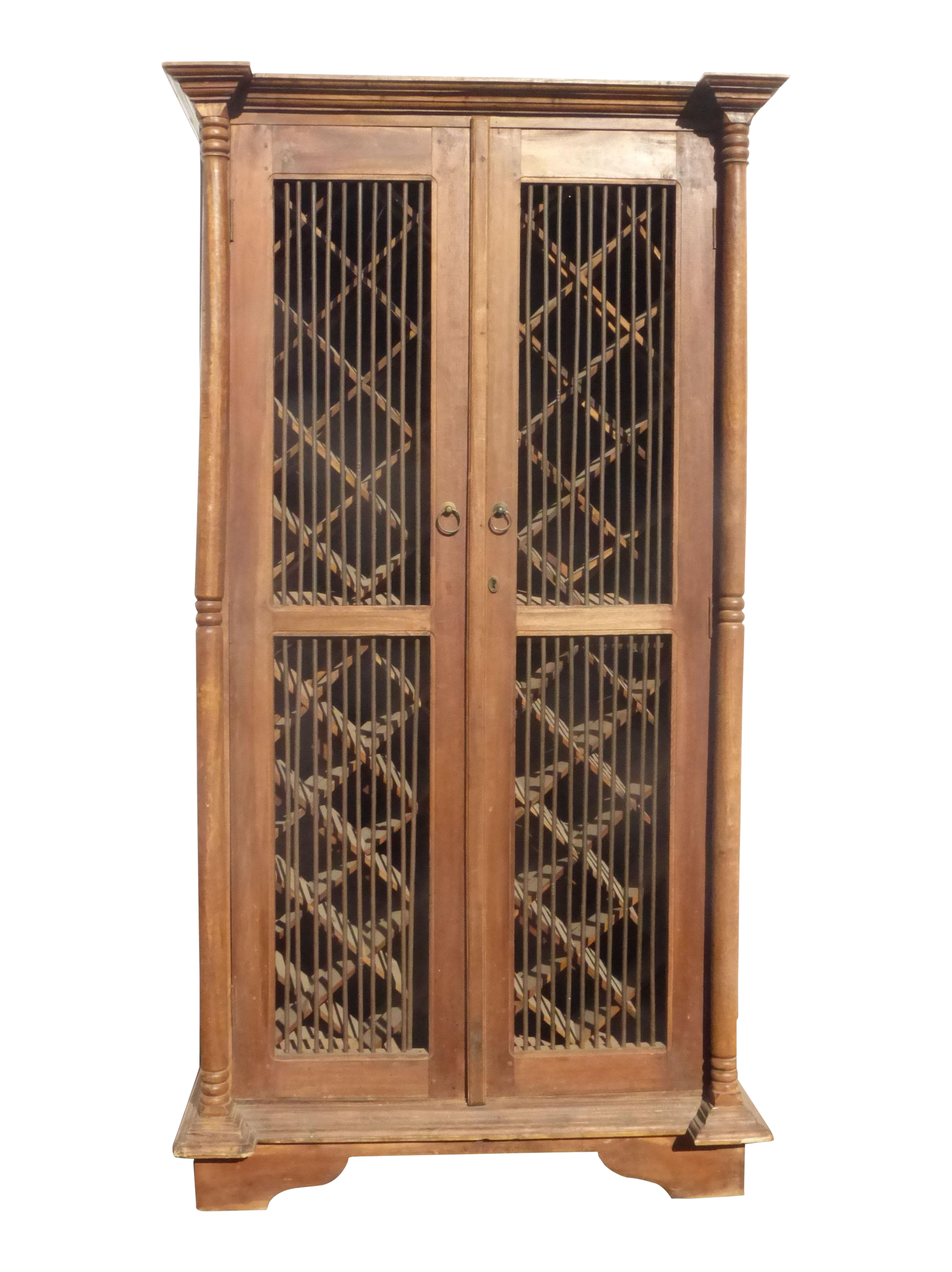 Teak Wood Rustic Spanish Style Wine Rack Cabinet On Chairish