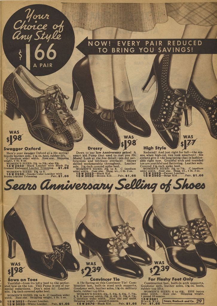 Sears Catalog 1935 Women S Shoes Pumps Vintage Outfits Office Fashion Women Winter Fashion Boots