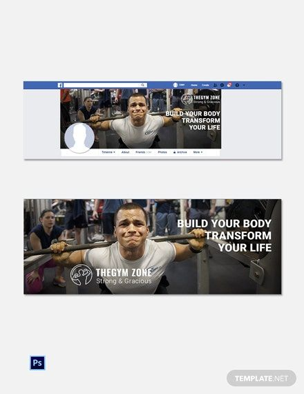 Free Gym Facebook Cover Template - PSD
