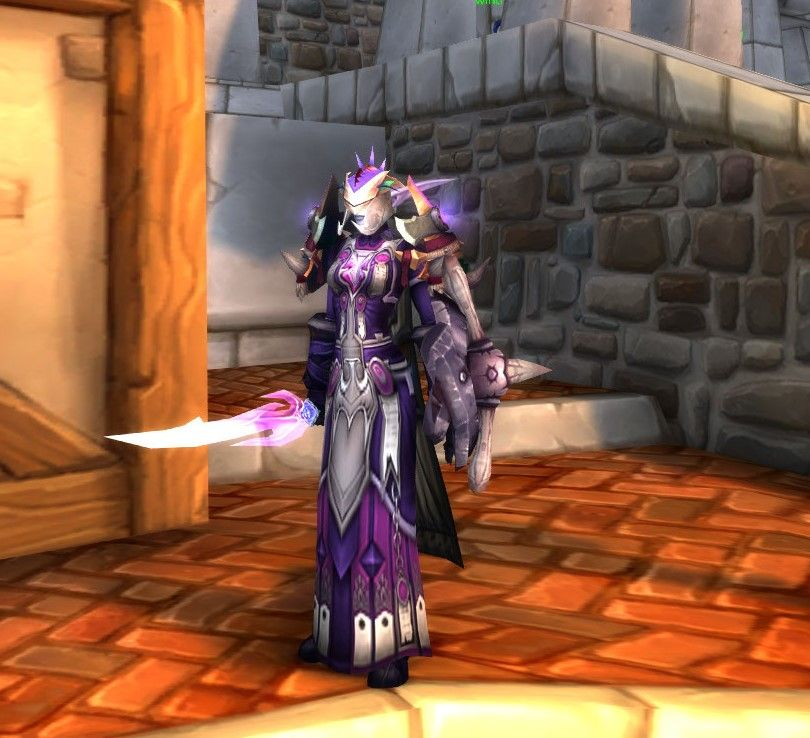 Purple and white plate xmog. The shoulders don\'t quite match but the ...