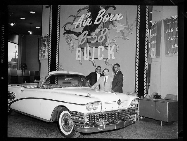 San Francisco Giants Baseball Player Willie Mays With Car Dealers Admiring The Air Born B 58 Buick Convertible C 1958