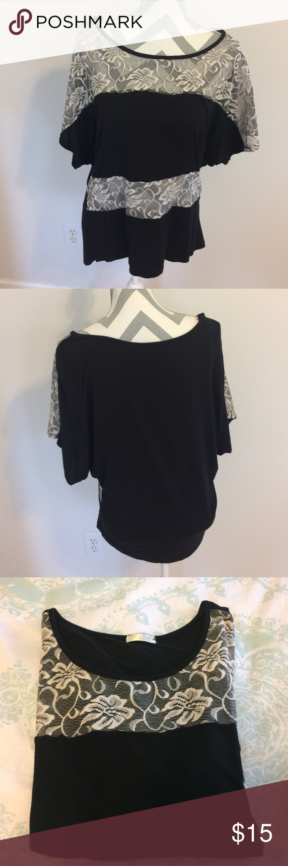 Lace Tee Black and cream colored lace tee is simple but a little sassy. Lace is see through. Not sure what the material is but it is very stretchy and roomy. Not form fitting. Bought in a boutique on vacation in FL and just never wore. Offers welcome! Tops Tees - Short Sleeve