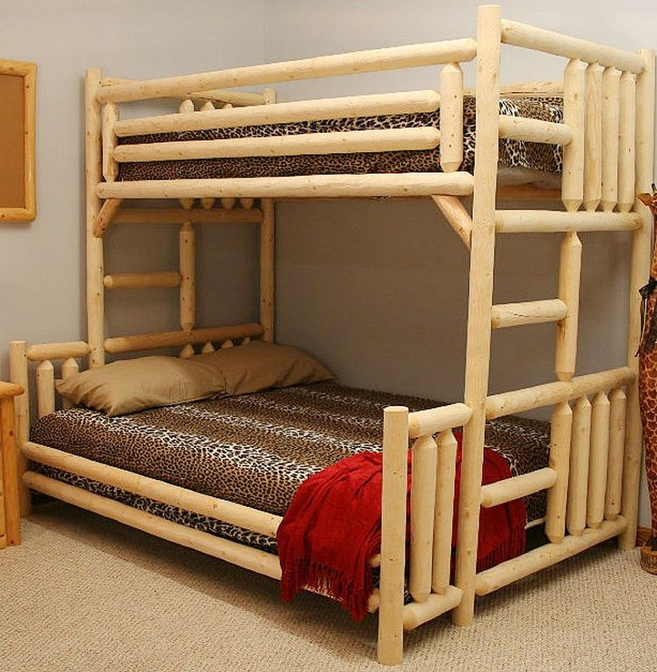 Loft bed twin over queen  Viewing Gallery For  Wood Logs For Decoration  Lugares y espacios