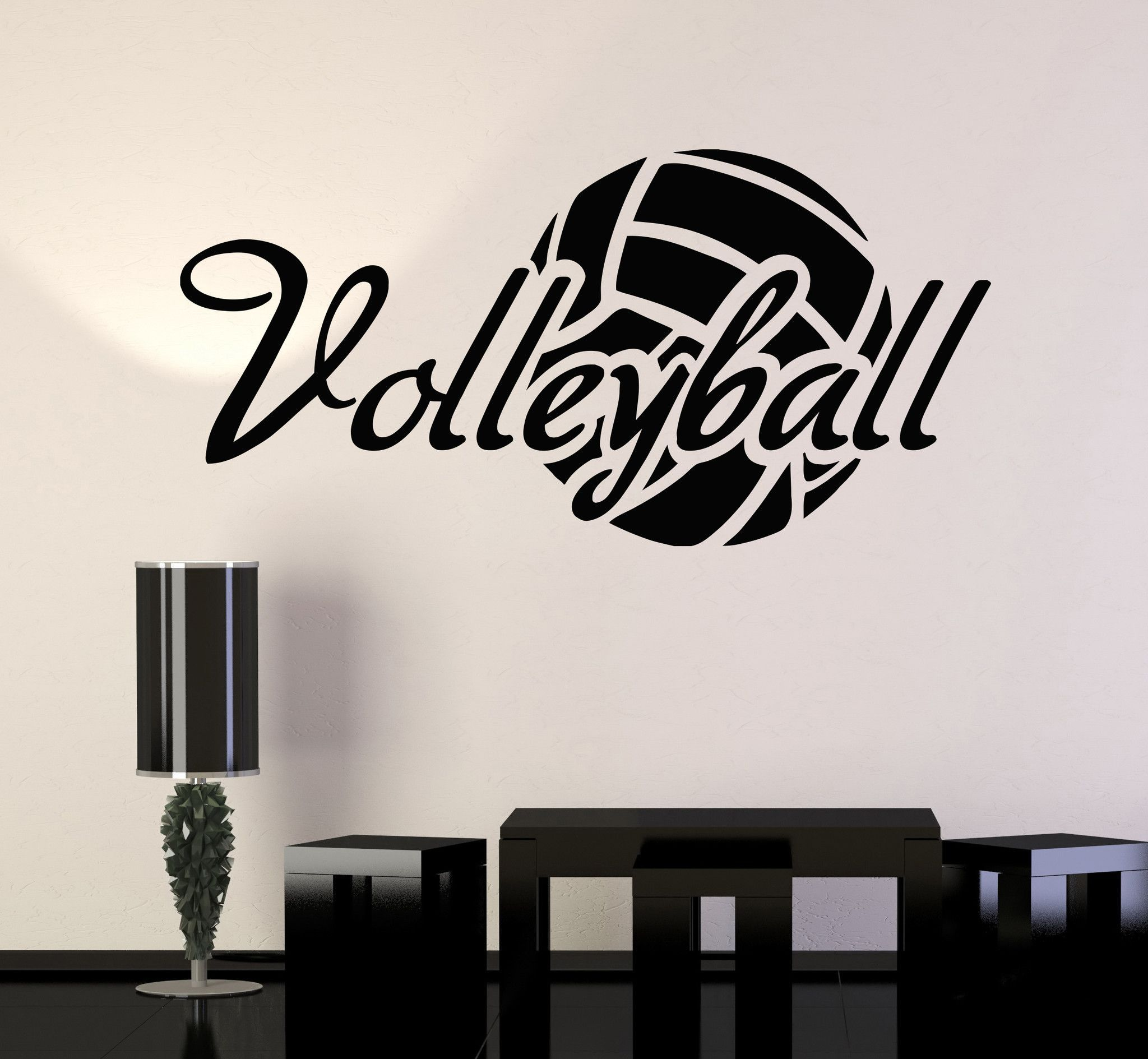 Vinyl wall decal volleyball ball sport stickers mural for Decoraciones para habitaciones