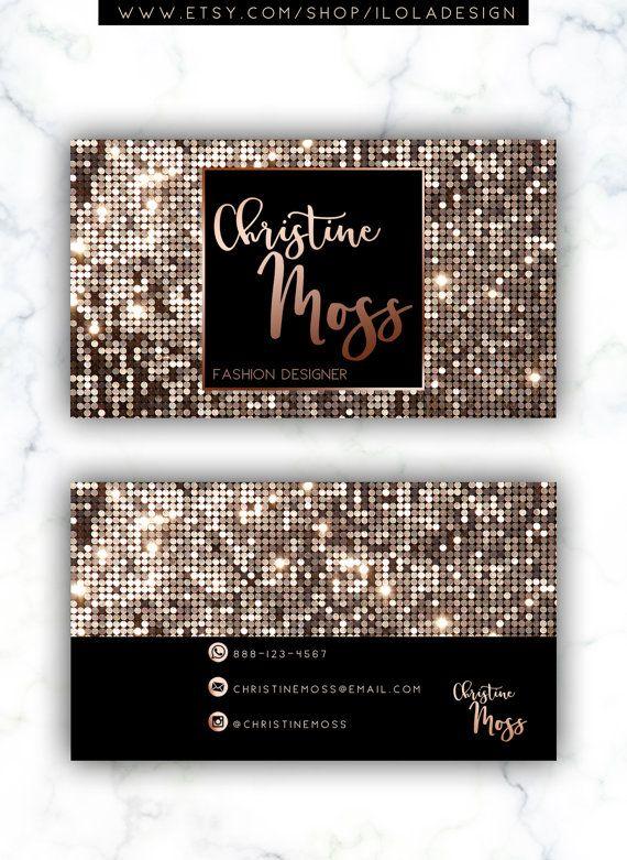 Metallic Business Card Glitter Business Card Rose By Iloladesign Glitter Business Cards Salon Business Cards Watercolor Business Cards