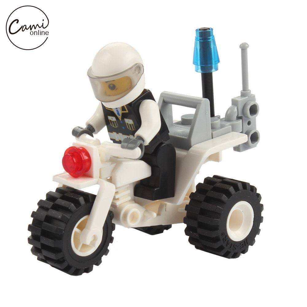 27 Unids Kids Mini Motocicleta Juguetes Niños DIY Monta el Vehículo Policial Modelos Muchacha Del Muchacho de Bebé Pequeños Ladrillos de Aprendizaje de Juguetes Educativos