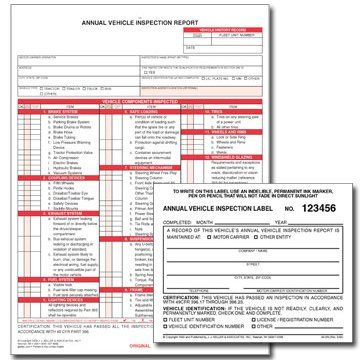 Annual Vehicle Inspection Form And Label  Us Products