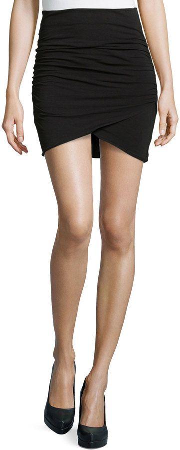 James Perse Wrap-Style Draped Mini Skirt, Black mini skirt http://www.shopstyle.com/action/loadRetailerProductPage?id=456076826&pid=uid7609-25959603-56