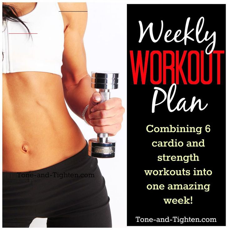 Weekly Workout Plan – Cardio and Strength Cross Training – 6 days of FREE workouts! 6 days of Cardio...