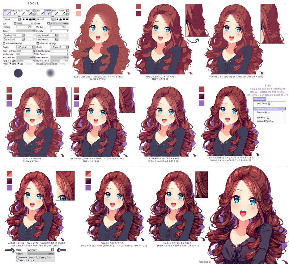 Hyan Style Shading Curly Brown Hair By Https Www Deviantart Com Hyan Doodles On Deviantart Digital Art Tutorial Art Tutorials Digital Painting Tutorials