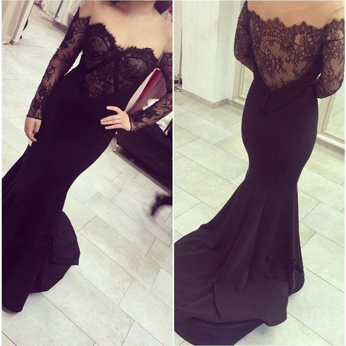 Sexy mermaid offtheshoulder long sleeves sweep black lace tulle