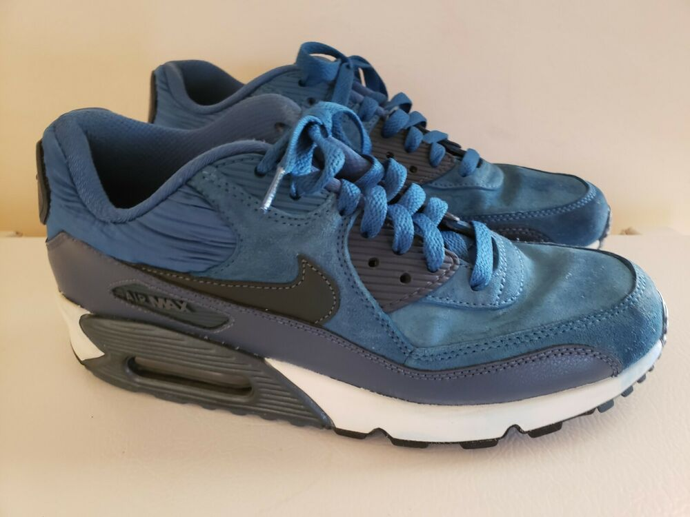 196c038d8a0a6 Nike Air Max 90 Leather Sneakers Brigade Blue Armory Navy 768887-401 ...