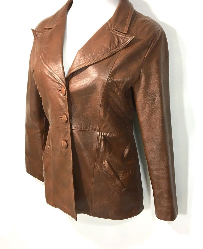 4bba1ead Womens Vintage Genuine Leather Jacket Size JM | Brown Button Down LS Lined  Coat #Unknown #LeatherJacket