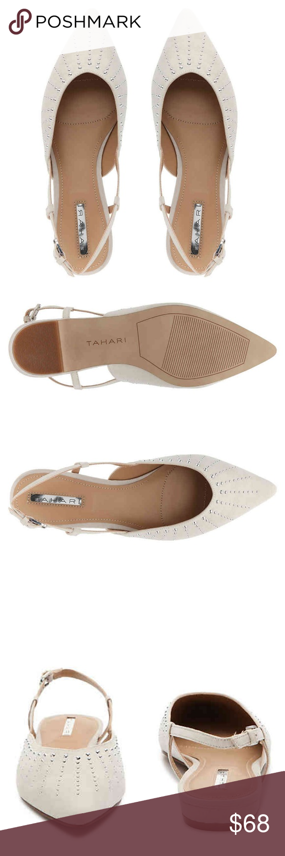 Tahari Pat Slingback Pointed Flats Stay on top of your favorite