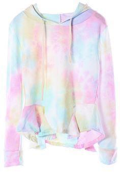 Blue Gradient Long Sleeve Hooded Ruffle Sweatshirt - Sheinside.com #kawaii