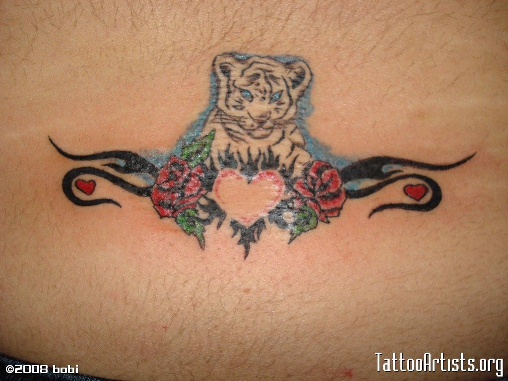 Tigger tattoo designs - Little White Tiger With Tribal And Heartemocional Sexi Tattoo Love Design Pixel