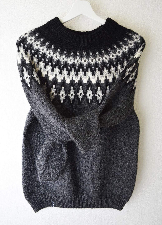 86e786946cb8 Pull tricoté main laine alpaga jacquard style islandais lopapeysa ...