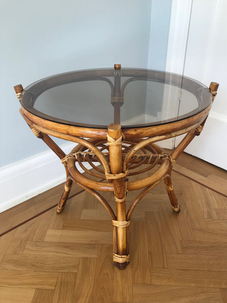 Vintage 1970s 80s Rattan Bamboo Cane Glass Topped Round Etsy Bamboo Canes Rattan Coffee Table Plants [ 1059 x 794 Pixel ]