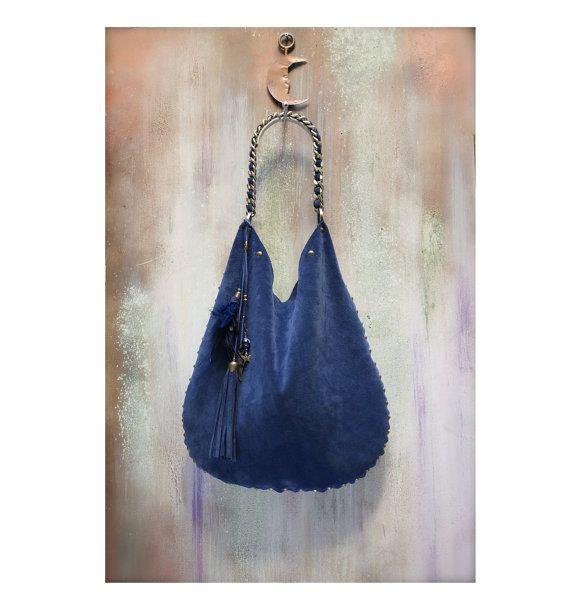 LEATHER HOBO BAG blu suede boho bag large by AgnesDeJuliisShop ... f943b78b3b34b