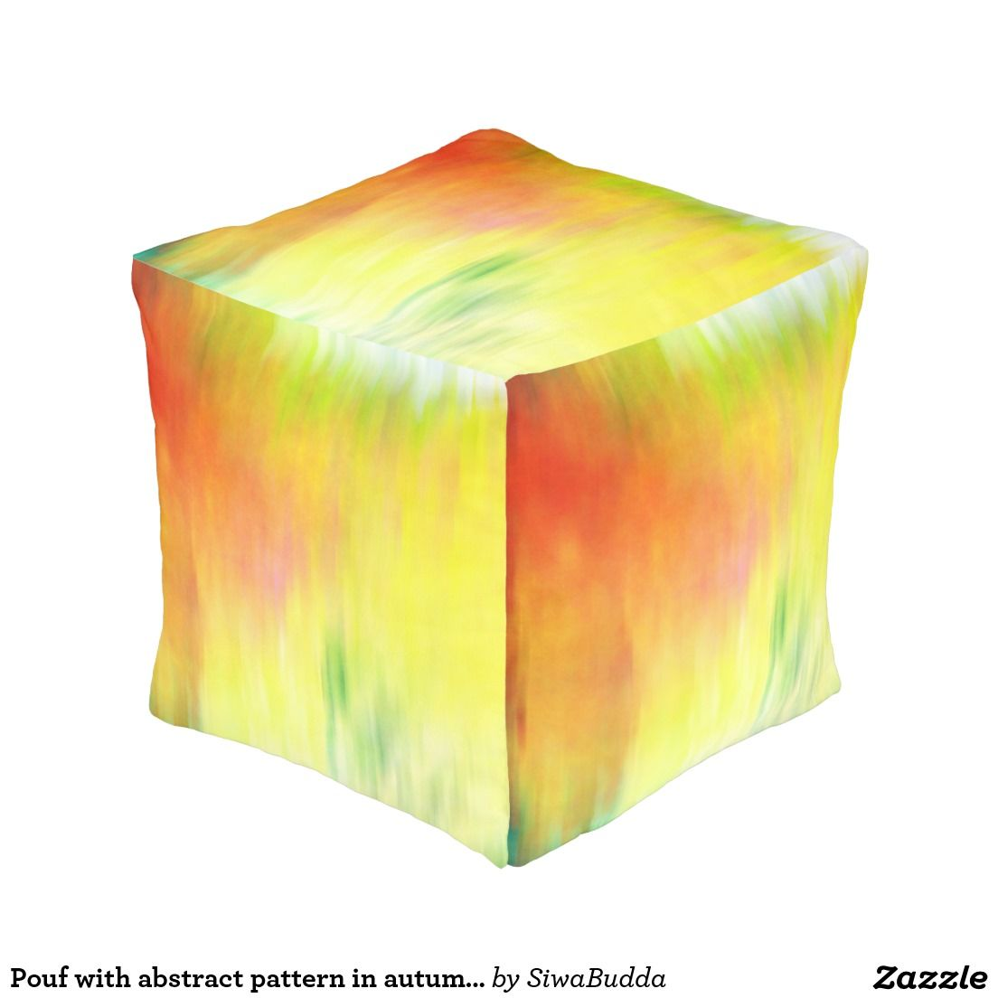 Pouf with abstract pattern in autumn colors