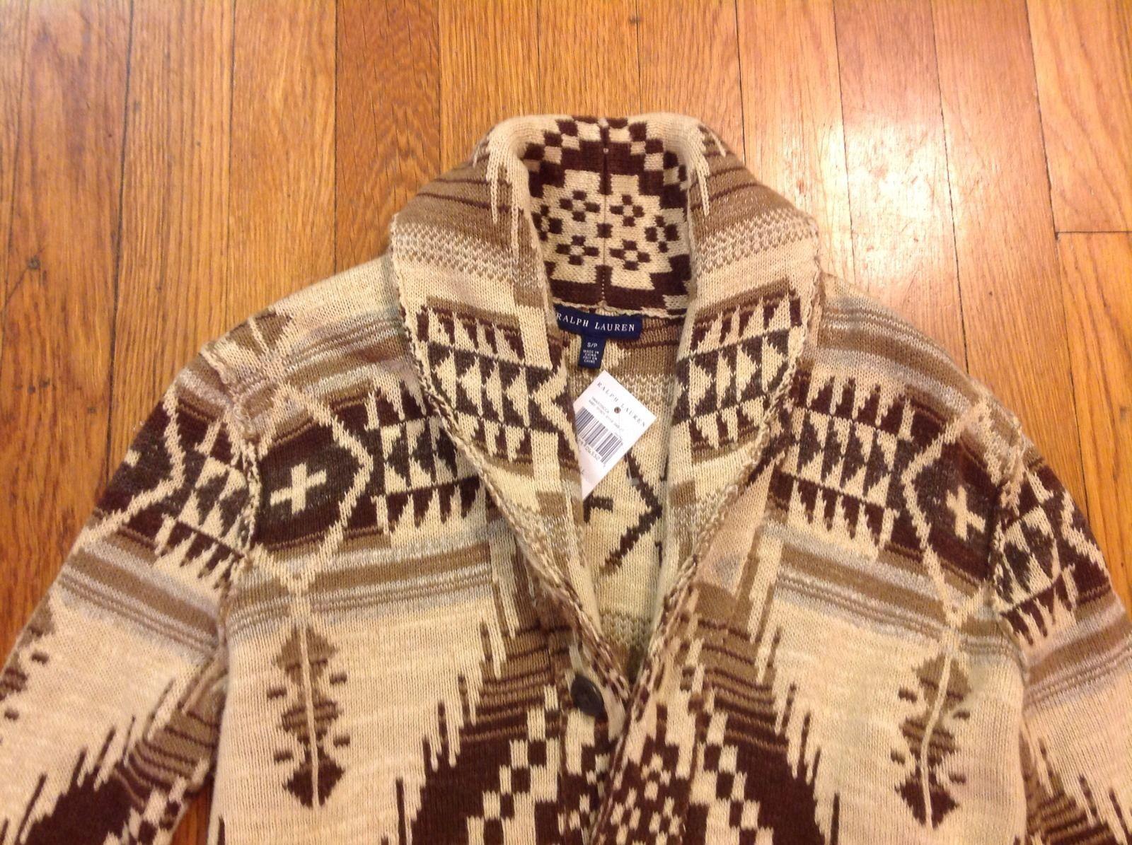 389176710 Polo Ralph Lauren Indian Print Shawl Wool Cardigan Medium New Aztec ...