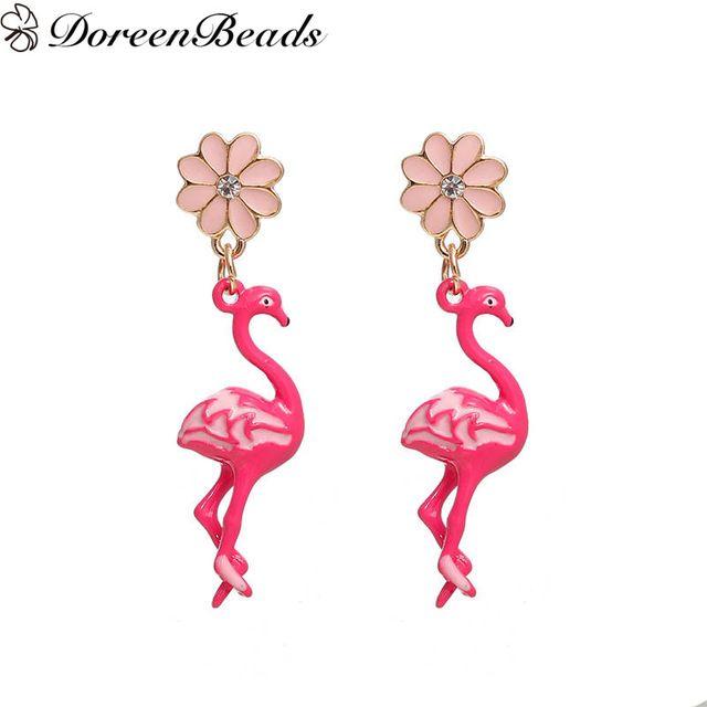 DoreenBeads Ohrringe Gold Farbe Rosa Flamingo Blume Klar Strass ...