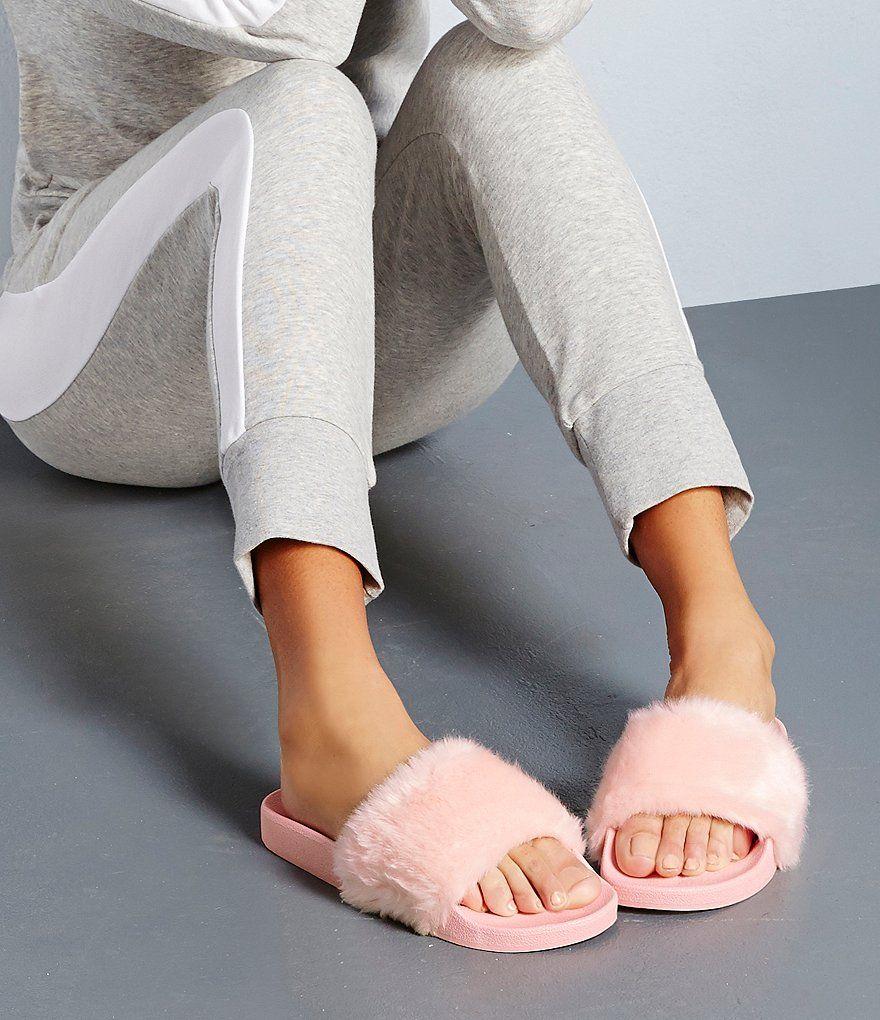 1f6bf706b8a Light Pink:Steve Madden Softey Faux Fur Slide-On Sandals | Best Foot ...