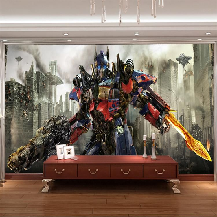 Transformers photo wallpaper 3d optimus prime wall mural for Boys mural wallpaper