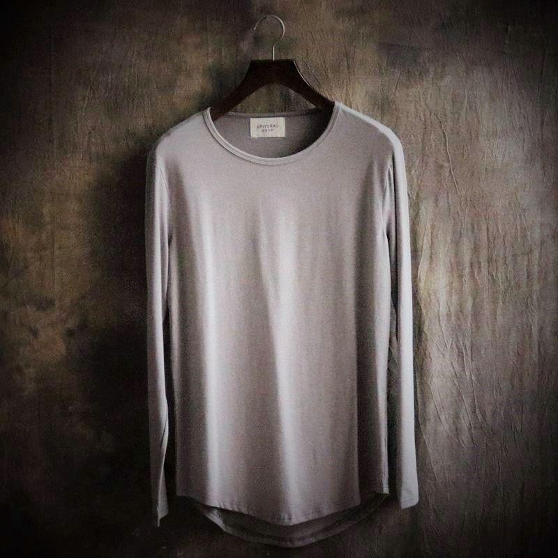 곡선 밑단 큰 야드 순수한 컬러 T 셔츠 남성 긴 소매 불규칙한 라운드 칼라 도덕 T 셔츠 캐주얼