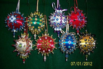"""SATIN BEADED CHRISTMAS ORNAMENT KIT /""""FROM OUT OF THE BLUE/"""""""