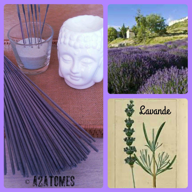 Encens parfum lavande en bâton aux Huiles essentielles naturelles - pochette de 10 bâtons de la boutique A2ATOMES sur Etsy