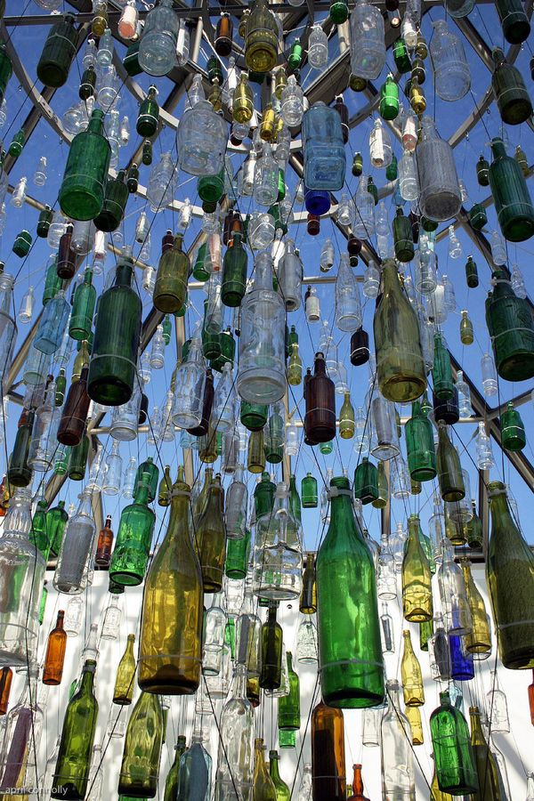 The modern art museum in luxembourg. this installation was very cool. different bottles hanging in a column. some had messages inside.