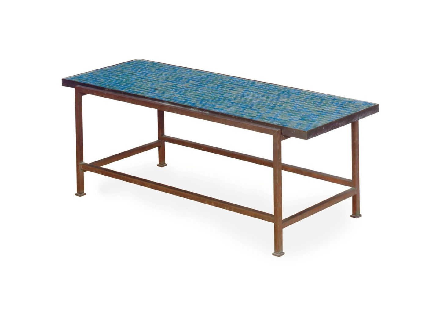 A Patinated Metal Tile Top Table Edward Wormley For Dunbar Mid  # Modele Table Tele En Fer Forge
