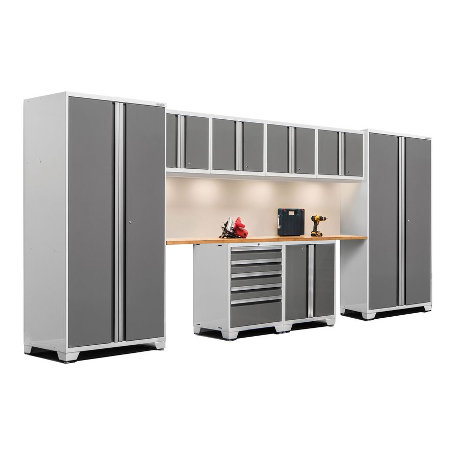 Newage Products Pro 3 0 184 In W X 85 25 In H Bright White Frames With Platinum Gray Doors Steel Garage Newage Products Garage Storage Cabinets Garage Storage