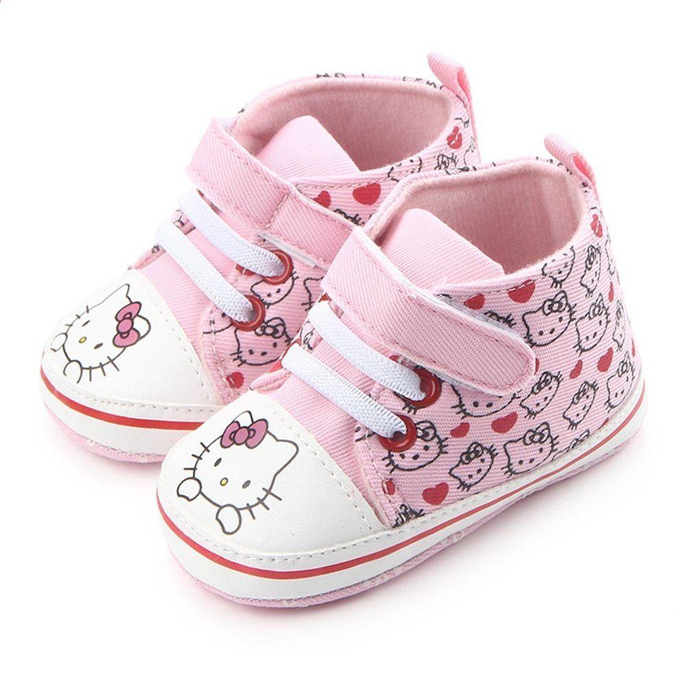28d22b8e66d Baby prinsessa rosa skor för tjejer tecknad Hello Kitty Canvas Sneaker  första walker nyfödda stövlar för barn spädbarn tofflor tofflor