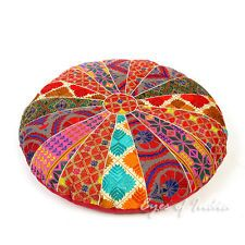 "22"" Colorful Embroidered Decorative Floor Cushion Seating Pillow Throw Cover Ind"