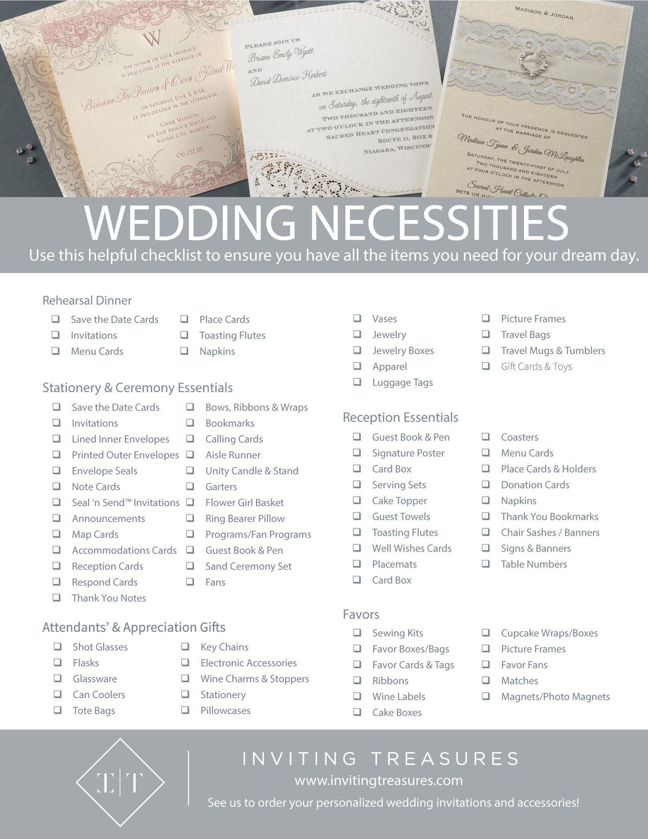 Wedding day checklist Wedding necessities checklist Wedding